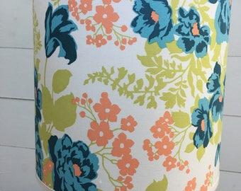 Custom Drum Style Lampshade featuring Joel Dewberry's Flora Eucalyptus Fabric