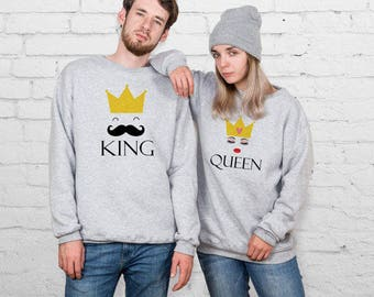 King And Queen Couple Sweatshirt My King My Queen Matching Sweaters Matching Sweatshirts Couple Sweater Aesthetic Tumblr clothing YP3318