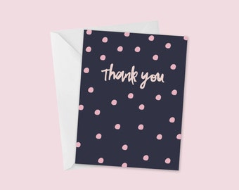 Pink Dot Card, A2 Greeting Card, Pink and Navy, Thank You, Blank Inside, Bridal Shower, Baby Shower, Birthday