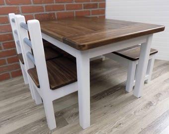 Kids Farmhouse Table / Kids Table Set / Kids Furniture / Kids Activity Table / Wood