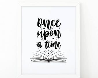Once upon a time, Reading Book, printable wall art, Reading Is Cool, Illustration, Reading print, Book Poster art, quote print, calligraphy