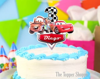 CARS Lightning McQueen and Mater Customized Cake Topper / Centerpiece / Birthday Party Supplies / Decorations