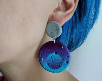 Original Earrings, Unusual Earrings, Handmade Earrings, Gift for Her, Space Earrings, Cosmic Earrings, Ombre Earrings, Blue  Earrings