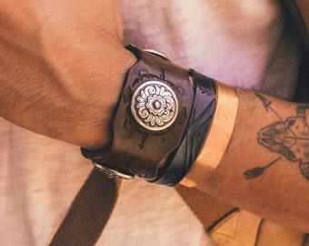 Boho Leather Bracelet, Native American Cuff, Southwestern Leather Cuff, Southwest Bracelet, Boho Jewelry, Boho Handmade Leather Cuff