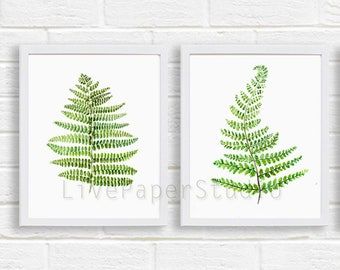 Fern Print Set of 2 Wall Poster, Botanical Floral Painting, Green Kitchen Decor, Abstract Leaf Art Print Watercolor Illustration Home Garden