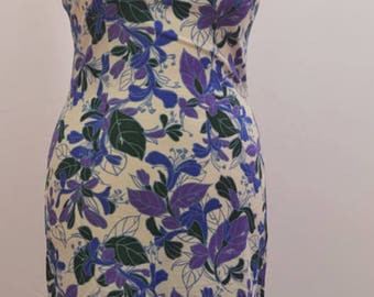 1960's bold floral shift dress in blues, greens, and purples. Made by A Riddella Model UK vintage 16