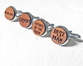 Wedding Cufflinks - Personalised Cufflinks - Wooden Cufflinks - Best Man Groom Cufflinks - Rustic Wedding Groomsman