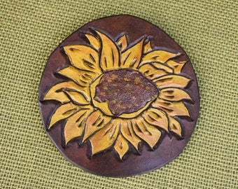 Beautiful Hand Tooled Brown and Yellow Leather Sunflower French Barrette Style Hair Clip/Slide