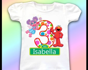 Sesame Street Birthday Shirt / 1st, 2nd, 3rd, 4th, Birthday Shirt / Girls Sesame Street Birthday Shirts / Abby and Elmo Birthday Shirt