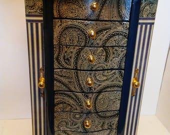 Large Jewelry Box/ Blue Paisly