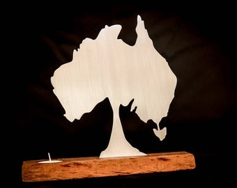 Australian tree map candle holder