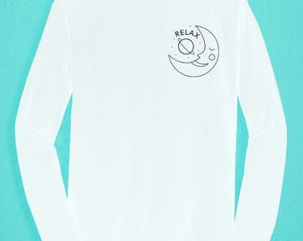 Long Sleeved White  T-shirt  - Relax black Moon