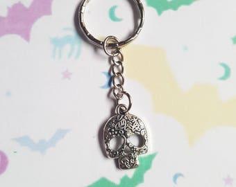 Skull keyring, Skull bag charm, Halloween keyring, Halloween bag charm, Skeleton, Skull, Hallowen, Horror, Goth, Gothic, Alternative