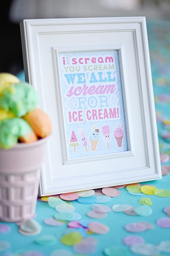 ice cream sprinkle party i scream you scream printable pdf sign 4x6 instant download sweet. Black Bedroom Furniture Sets. Home Design Ideas