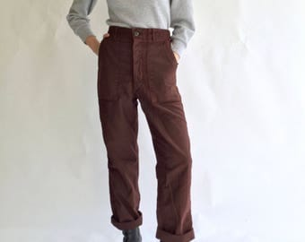 Vintage 28 30 32 34 Waist Overdye Maroon Red 70s OG 107 Army Pants | Vietnam Utility Fatigue Pant | High Rise Waist Cotton Military Trouser