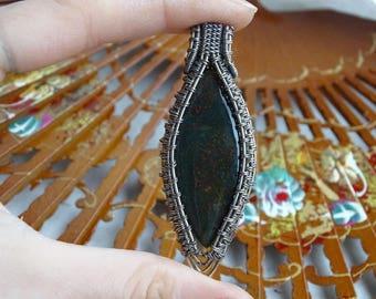 Bloodstone silver pendant. Silver pendant, bloodstone pendant, wire pendant, bloodstone necklace