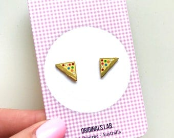 Iconic Australian Food Enamel Earrings - Fairy Bread with Rainbow Hundreds and Thousands
