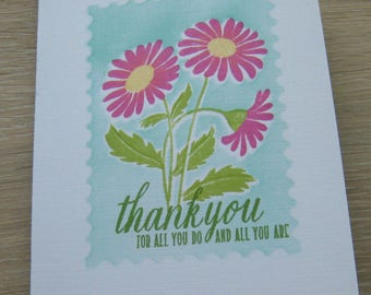 Gerber Daisy thank you card, hand-stamped, daisy card