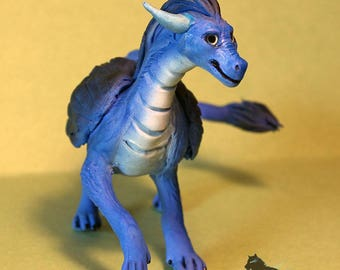 Eragon Winged dragon figure Saphira fly dragon sculpture figurine fantasy ooak handmade clay animal statuette night dragon furry mystic