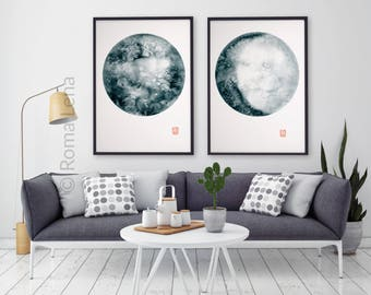 Set Of 2 Modern Posters Living Room Art Decor Wall Watercolor Moon Rings Moonstone