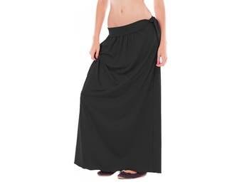 Black maxi women skirt, Plus size women skirt, Long Black womens skirt, Bohemian Plus size skirt, High waisted skirt, Classic Black skirt