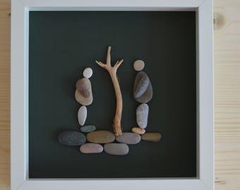 Beach pebble farmers framed art