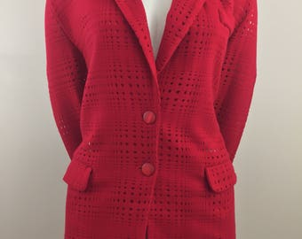 Vintage Supply & Demand Red Blazer with Square Shaped See Through Cut Out Pattern/Size Medium