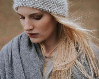 Baby Alpaca Knit Hat// Knit Toque //Luxury Hat// Blend of Alpaca Wool and Silk// Light Grey Colour