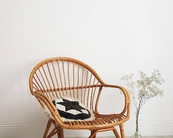 Mid century modern rattan armchair