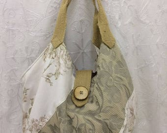 Cream and Green Floral Recycled Fabric Shoulder Bag