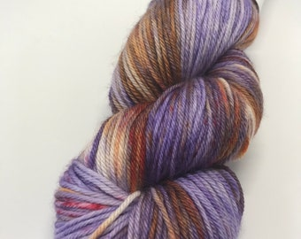 Hand Dyed Yarn Oddball Purple, Orange and Red 100g/225m DK Double Knitting 75/25% Superwash Merino/Nylon Mulesing Free