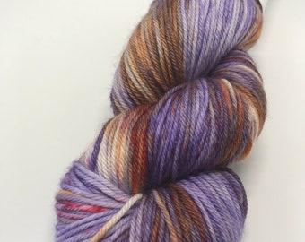 Hand Dyed Yarn Oddball Purple, Orange and Red 100g/225m DK Double Knitting 75/25% Superwash Merino/Nylon Mulesing Free