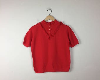 70s Red Top w/ Ruffle Collar, Retro Red Top