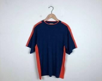 Vintage Color Block T Shirt Size Large, Y2K T Shirt, Knit T Shirt