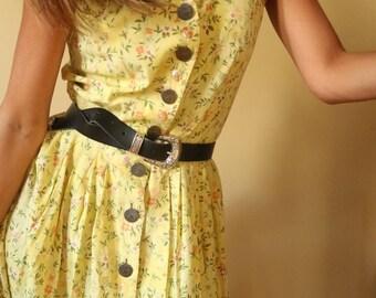 Vintage Pastel Yellow Floral Sleeveless Maxi Dress Size 10