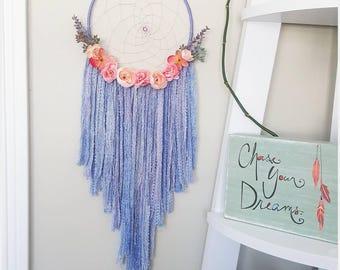 dreamcatcher, dream catcher, nursery baby dreamcatcher, personalized babyshower gift, large flower floral purple pink lavender dreamcatcher