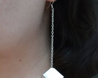 Mirrored Cube Dangle Earrings