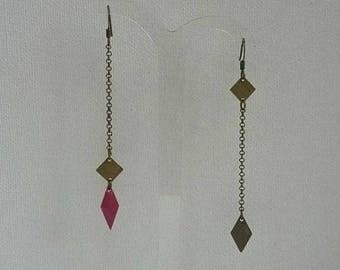 bronze earrings with fuschia flowers diamond pendants and chains