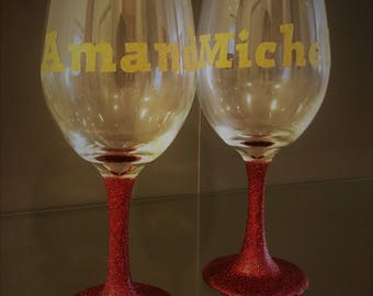 2 - 20oz Glitter Wine Glasses - Personalized