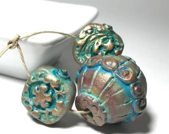 Turquoise Green Gold Textured Polymer Clay Bead Mix, Handmade Bohemian Art Beads, Set Of 3, Boho Beads, Green Gold Bead, Large Barrel Bead