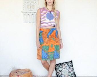 Vintage African Print Batik Wraparound Skirt