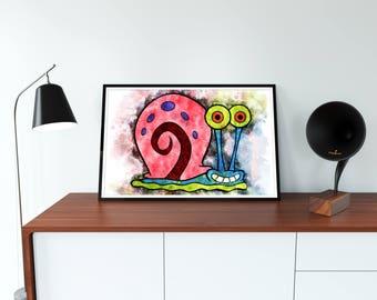 Sponge Bob Poster Art Sponge Bob Watercolor Sponge Bob wall art printable Sponge Bob instant download files