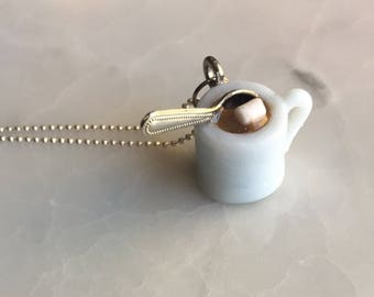 Hot Cocoa Necklace - Polymer Clay Christmas Necklace - Hygge Gift  - Miniature Food Necklace - Hot chocolate necklace - Tiny Food