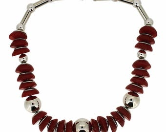 Jakob Bengel 1932 Chrome and Red Plastic Necklace