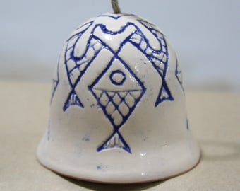 ceramic bell, bells, ceramic bells with fish, drawing fish, graphic fish, Fishes, fish ornament, white bell