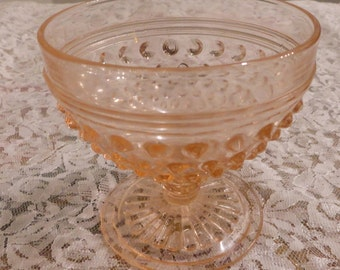 Pink Hobnail Anchor Hocking Sherbet and Cups