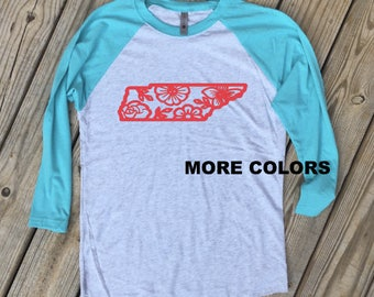 Tennessee Wild Flowers - Raglan Tee - Choose your color!