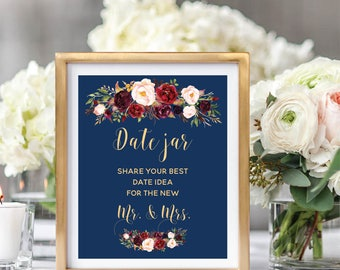 Date Night Ideas Jar Sign, Wedding Date Jar Sign, Wedding Sign Printable, Navy Blue, Foral Watercolor, Burgundy Marsala #A003