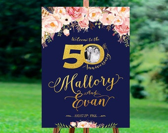 50th anniversary poster, 50th anniversary sign, Anniversary Sign Printable, 50th Anniversary decoration - US_WS0103d