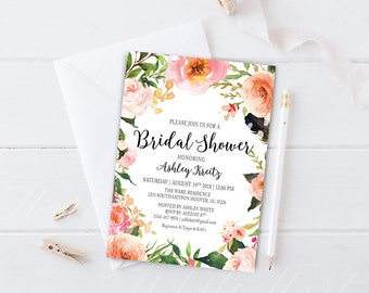 Watercolor Bridal Shower invitation, Bridal shower invitation, Rustic bridal shower invitation, Floral Bridal Shower - US_BI1815